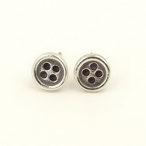 Button ear studs small sterling silver cute round buttons